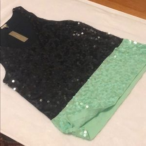 J. Crew Navy and mint green tank top with sequence